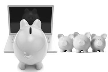 Sparschweine und Laptop
